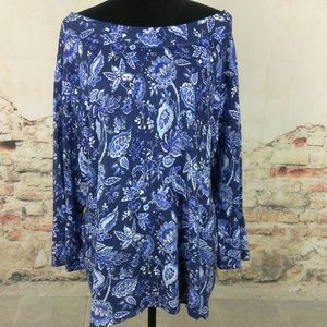 Talbots 3X Blue Floral Boat Neck 3/4 Sleeve Top